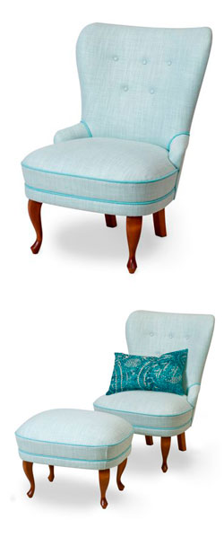 Emma armchair fabric Panaro color Aqua